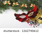carnival masks and christmas...   Shutterstock . vector #1262740612