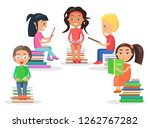group of reading kids siting on ... | Shutterstock . vector #1262767282