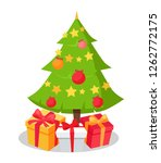 christmas tree icon decorated... | Shutterstock . vector #1262772175