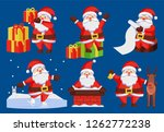 santa claus set of icons... | Shutterstock . vector #1262772238