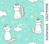 Stock vector draw seamless pattern background kitty cat unicorn on sweet pastel doodle cartoon style 1262792908
