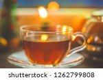 festive tea party. a cup of tea ... | Shutterstock . vector #1262799808