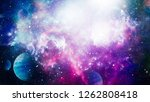 fiery explosion in space.... | Shutterstock . vector #1262808418
