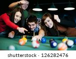 Friends Playing Billiard