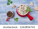 slices of mushrooms and meat... | Shutterstock . vector #1262856742