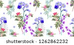 hand drawing seamless floral... | Shutterstock . vector #1262862232