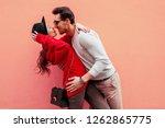 lovely couple in love kissing... | Shutterstock . vector #1262865775