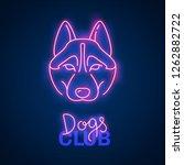 glowing neon effect dogs club...