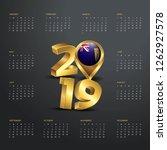 2019 calendar template. golden... | Shutterstock .eps vector #1262927578