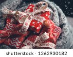 red christmas gift boxes with... | Shutterstock . vector #1262930182