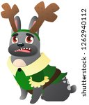 french bulldog with reindeer... | Shutterstock .eps vector #1262940112
