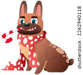 cute french bulldog with scarf... | Shutterstock .eps vector #1262940118