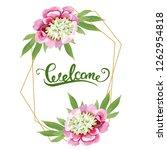 pink peony watercolor... | Shutterstock . vector #1262954818