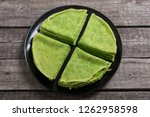 homemade green pancakes with... | Shutterstock . vector #1262958598