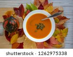 tasty pumpkin bright orange... | Shutterstock . vector #1262975338