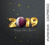 2019 happy new year qatar flag...   Shutterstock .eps vector #1262988322