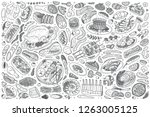 hand drawn meat dish set doodle ... | Shutterstock .eps vector #1263005125
