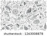 Stock vector hand drawn italian food set doodle vector illustration background 1263008878