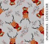 cute doe pattern design in... | Shutterstock .eps vector #1263011368
