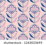 seamless retro floral pattern | Shutterstock .eps vector #1263023695
