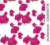 seamless pattern of pink roses... | Shutterstock .eps vector #1263036778