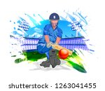 cricket player in playing... | Shutterstock .eps vector #1263041455