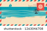 postal envelope with postage... | Shutterstock .eps vector #1263046708