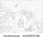 small children playing in their ... | Shutterstock .eps vector #1263053728