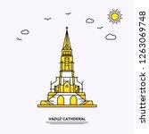 vaduz cathderal monument poster ...   Shutterstock .eps vector #1263069748