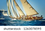 yachting sail sport. sailboat... | Shutterstock . vector #1263078595