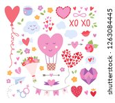 hearts and love symbols.... | Shutterstock .eps vector #1263084445