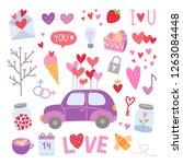 vector love elements. cute... | Shutterstock .eps vector #1263084448