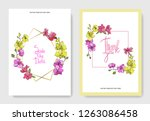vector yellow and pink orchid.... | Shutterstock .eps vector #1263086458