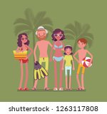 happy family rest at resort.... | Shutterstock .eps vector #1263117808