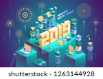 2019 happy new year. new... | Shutterstock .eps vector #1263144928