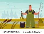 cute chubby fisherman. cartoon... | Shutterstock .eps vector #1263165622