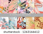 collection of seamless patterns.... | Shutterstock .eps vector #1263166612