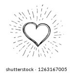 heart symbol with sunburst | Shutterstock .eps vector #1263167005