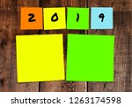 list of handwritten 2019 new... | Shutterstock . vector #1263174598