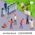 activists isometric poster with ... | Shutterstock .eps vector #1263180508