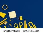 school stationery on a navy... | Shutterstock . vector #1263182605