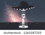 the alien was teleports from... | Shutterstock .eps vector #1263187255