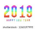 pixel rainbow fonts happy new...