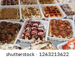 belgian waffles with fruits and ... | Shutterstock . vector #1263213622