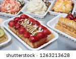 belgian waffles with fruit... | Shutterstock . vector #1263213628
