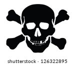 vector black skull icon on... | Shutterstock .eps vector #126322895