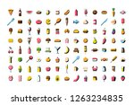 set of vector cartoon food icon ... | Shutterstock .eps vector #1263234835
