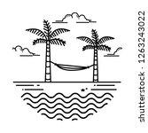 Beach Design  Vector Style Line ...