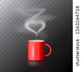 red coffee cup with heart made...   Shutterstock .eps vector #1263264718