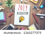 2019 new year resolution... | Shutterstock . vector #1263277375